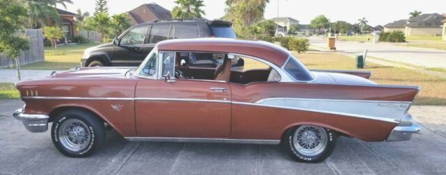 1957 Brown Chevrolet Bel Air/150/210 -- with Two Tone interior