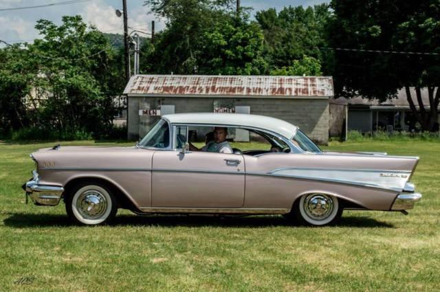 1957 Chevy Bel Air Dusk Pearl Frame Off Restoration 2 Door Hardtop