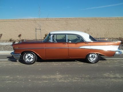 1957 Brown Chevrolet Bel Air/150/210 CHEVY BELAIR 4 DOOR HARD TOP HARD TOP with BROWN AND OFF WHITE interior