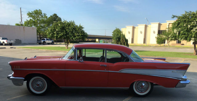 1957 Chevy Belair Red With Red Interior Fully Restored Bone