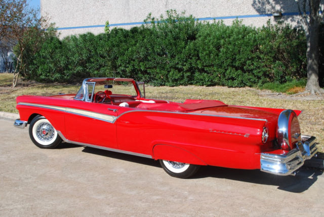 1957 Flame Red Ford Fairlane Convertible with Red & White interior