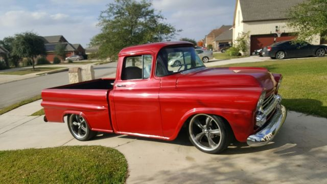 1958 chevy apache 3100 swb truck restomod fleetside for sale photos technical specifications. Black Bedroom Furniture Sets. Home Design Ideas