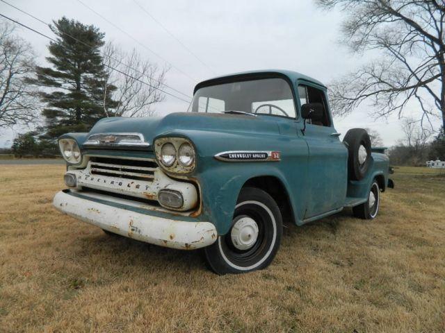 1959 Chevrolet Apache 32 Stepside Survivor Truck True Patina Runs