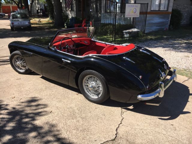 1962 Black Austin Healey G80 Tri-carb BT7 with red interior