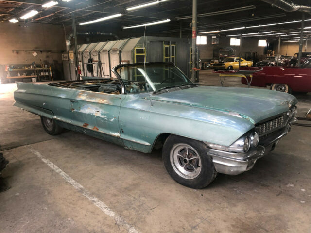 1962 GREEN Cadillac SERIES 62 CONVERTIBLE MAY DELIVER Convertible with BLACK interior