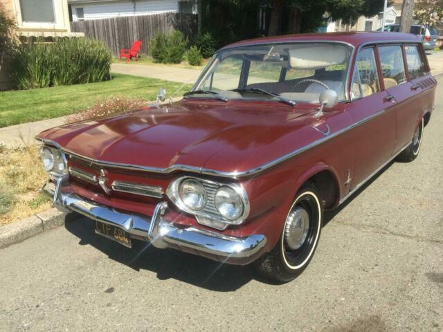 1962 Burgundy Chevrolet Corvair Wagon with Brown interior