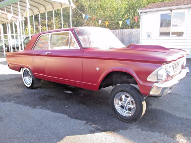 1962 Red Ford Fairlane Gasser Sedan with Burgundy interior