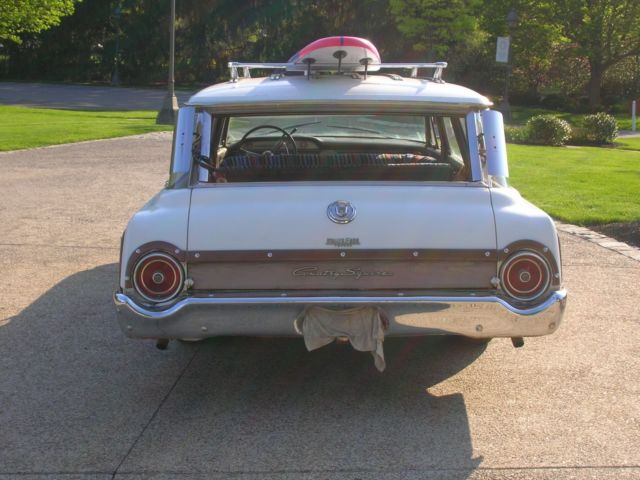 1962 White Ford Galaxie Country Squire Station Wagon with rose interior