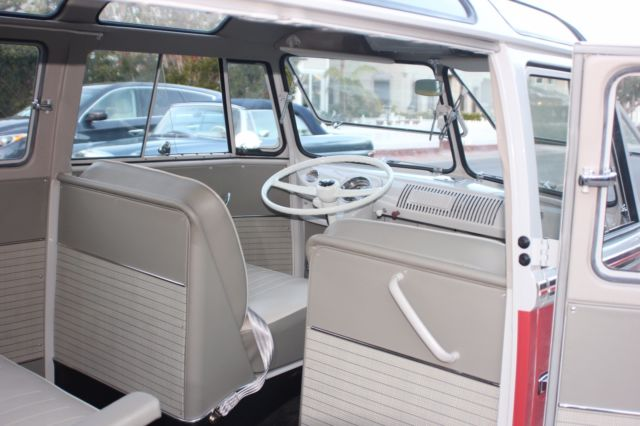 1962 Red Volkswagen Bus/Vanagon Microbus Deluxe Tourist Bus with Gray interior