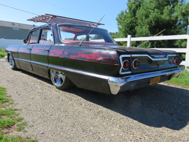 Belair Auto Auction >> 1963 Chevy Belair. rat rod slammed lowrider bagged air ride hot rod. Nice patina for sale ...