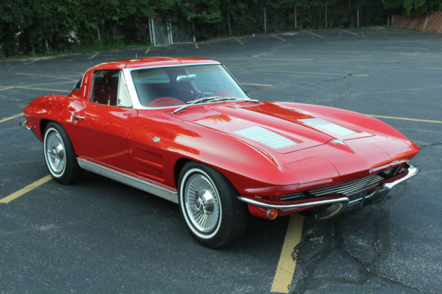 1963 corvette split window coupe red with red interior for for 1963 corvette split window coupe for sale