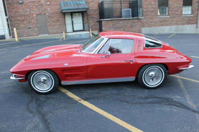 1963 Corvette Split Window Coupe Red With Red Interior For Sale Photos Technical