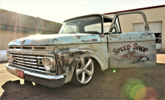 1963 Ford F-100 Unibody Pickup 2-Door Patina Crown Vic Body Drop 4 6