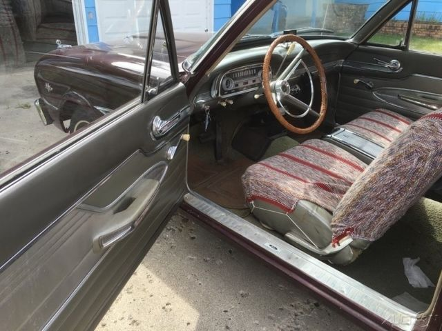 1963 Burgundy Ford Falcon Coupe with Gray interior