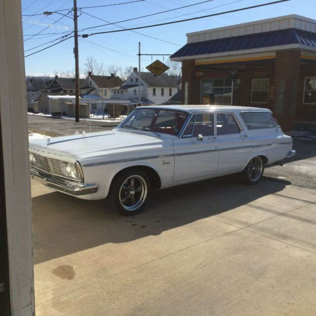 1963 White Plymouth Belvedere Wagon with Red interior