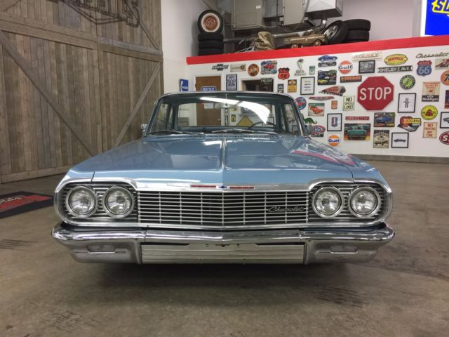 1964 Silver Blue Chevrolet Bel Air/150/210 Coupe with Blue interior