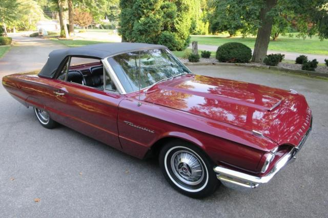 1964 Burgundy Ford Thunderbird Convertible with Black interior