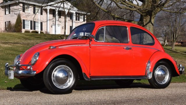 1965 65 Vw Bug Volkswagen Red 2 Door Sedan 4 Sd Manual