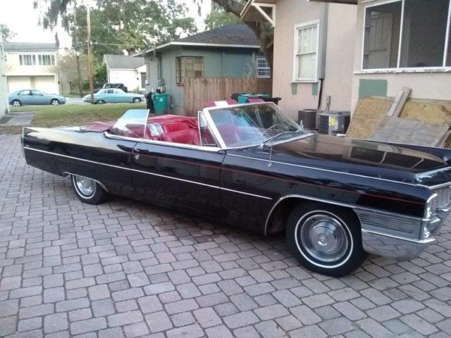 1965 Black Cadillac DeVille DeVille Coupe Convertible Convertible with Red interior