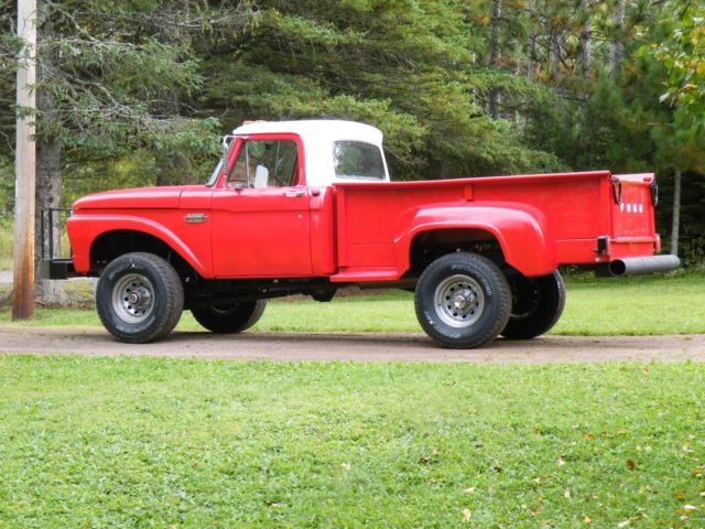 1965 ford f250 4x4 stepside long bed with pto winch red. Black Bedroom Furniture Sets. Home Design Ideas