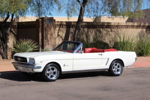 1965 Ford Mustang Convertible White On Red Ac Top Steering Must See