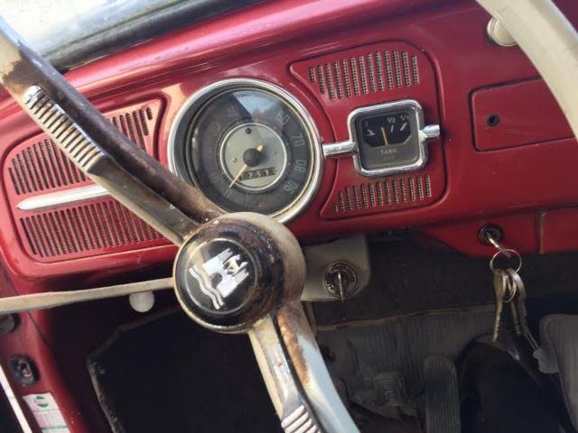 volkswagen vw beetle bug ruby red barn find og interior  sale  technical