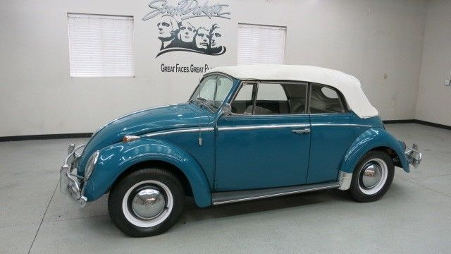 vw beetle convertible med blue finish white top engine fresh rebuilt  sale