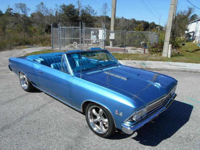 1966 Chevelle Ss 396 Convertible True 138 4 Spd Marina Blue Int Must See