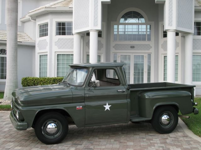 1966 Green Chevrolet C-10 C10 Stepside Short Bed Short Bed Cab & Chassis