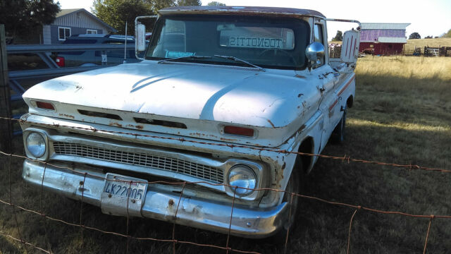 1966 White Chevrolet C20 Standard Cab Pickup with Gray interior