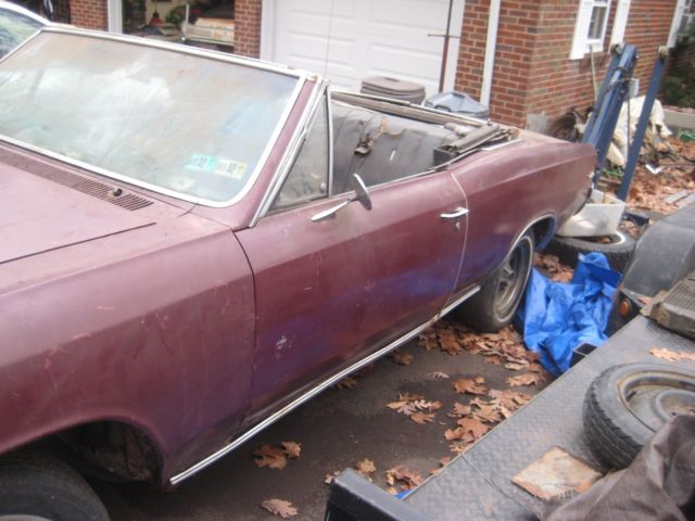 1966 Burgundy Chevrolet Chevelle Convertible with Black interior
