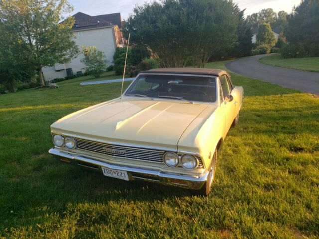 1966 Butternut Yellow Chevrolet Chevelle Convertible with Black interior