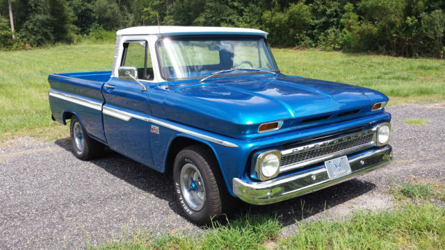 1966 classic chevy chevrolet custom c 10 fleetside shortbed pickup truck blue for sale photos. Black Bedroom Furniture Sets. Home Design Ideas