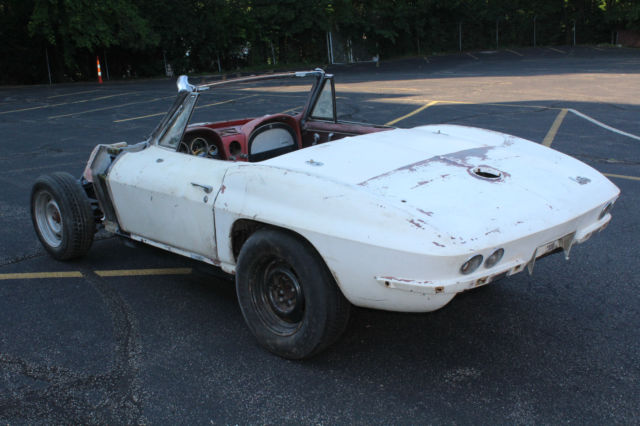 1966 Corvette Convertible White/Red 427 project car for sale