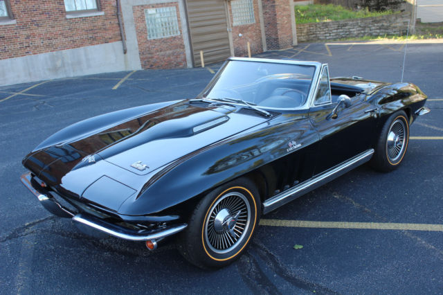 1966 corvette stingray black black 427 425hp convertible for sale photos technical. Black Bedroom Furniture Sets. Home Design Ideas