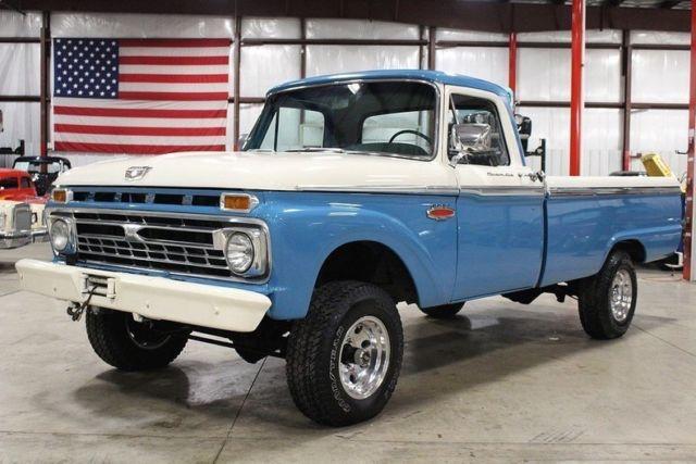 1966 Ford F100 35263 Miles Blue Pickup Truck 352 V8 Manual