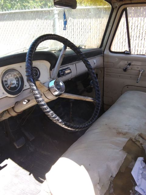 1966 Black Ford F-100 Standard Cab Pickup with Tan interior