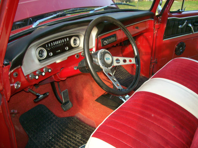 1966 Red and White Ford F-100 Custom Short Bed with Red and White interior
