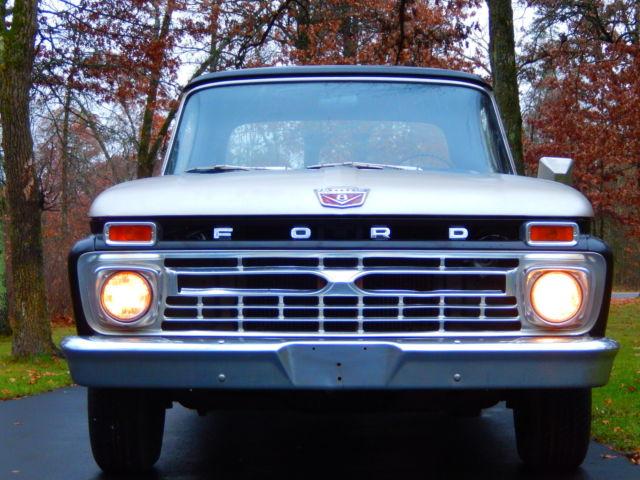 1966 Ford F100 Custom Cab Pickup Truck Dual Exhaust Black Silver