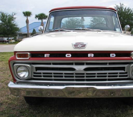 1966 Red Ford F-100 Cab & Chassis with Red interior