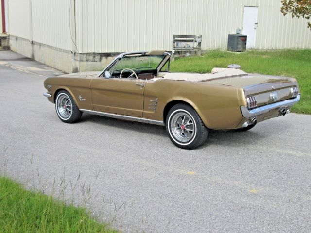 1966 Gold Ford Mustang Convertible with Tan interior