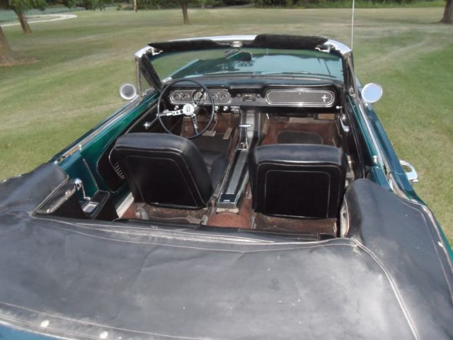 1966 Green Ford Mustang Convertible with Black interior