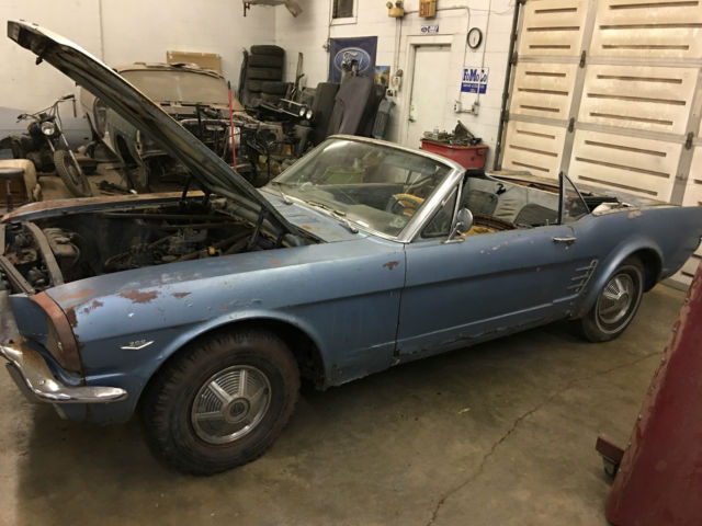1966 Ford Mustang Convertible V 8 Stick Shift Silver Blue White Top