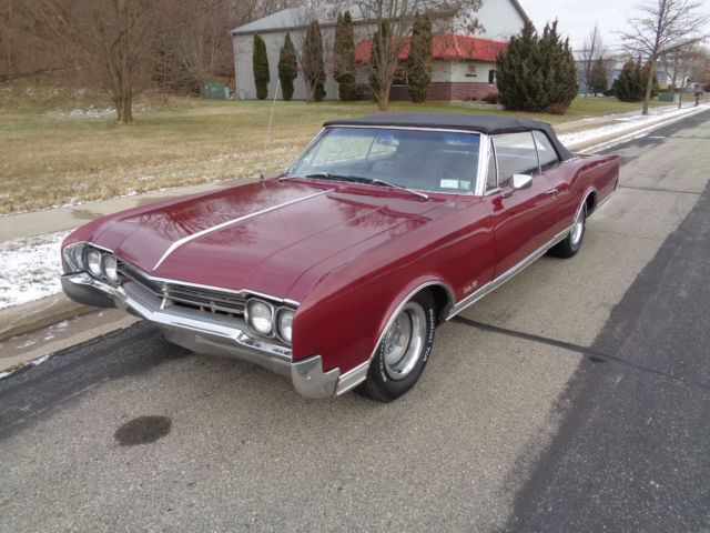 1966 Burgundy Oldsmobile Eighty-Eight Convertible with Burgundy interior