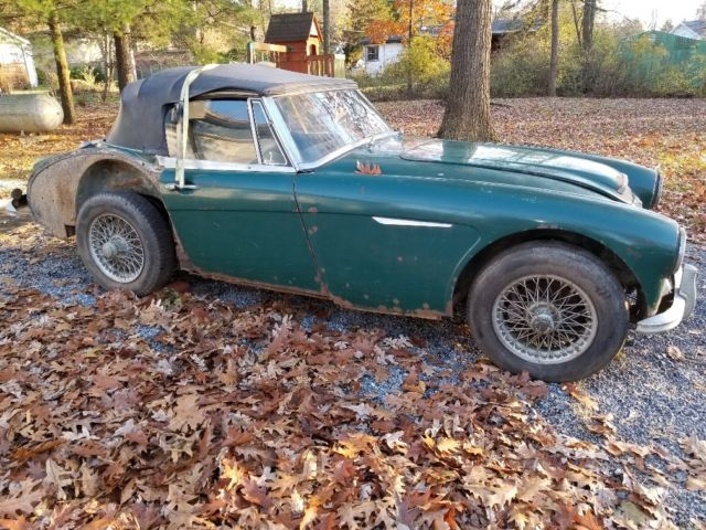 1967 Green Austin Healey 3000 Convertible with Black interior