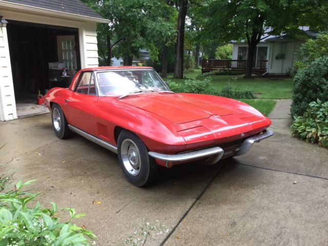 1967 Chevrolet Corvette Convertible Red Original Numbers Barn Find Rare Car