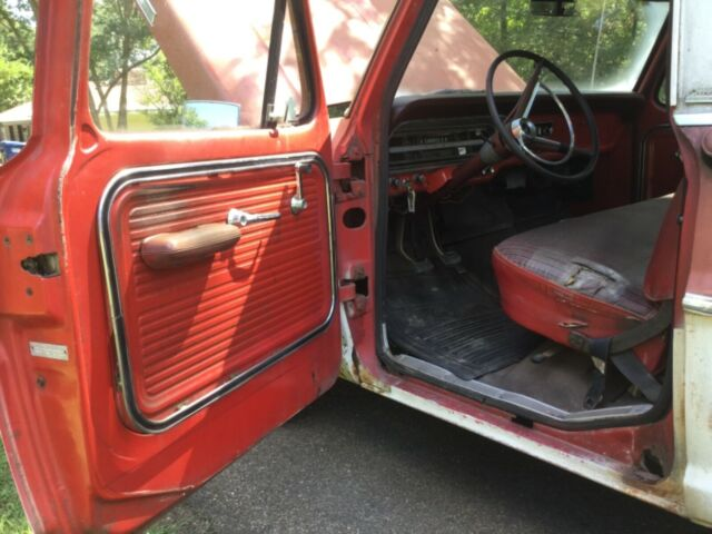 1967 Red Ford F-100 Custom Cab Standard Cab Pickup with Red interior