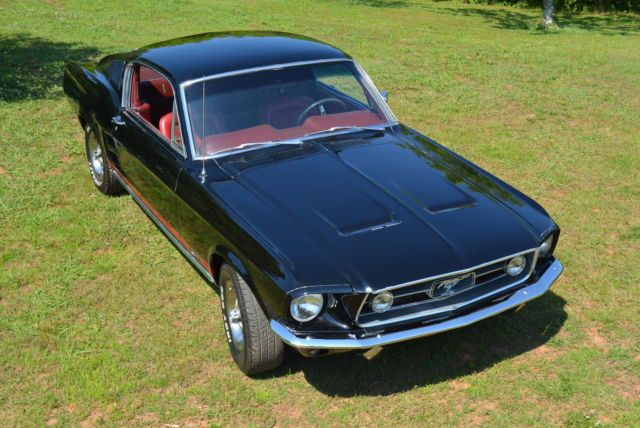 1967 ford mustang fastback gt 390 4spd rare raven black w red interior restored