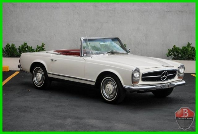 1967 White Mercedes-Benz SL-Class MANUAL TRANSMISSION PAGODA HARD AND SOFT TOP Convertible with Red interior