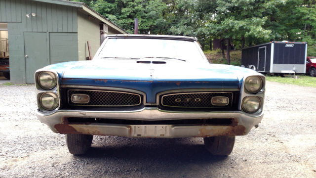 1967 Pontiac Firebird Convertible Project Car For Sale: 1967 PONTIAC GTO CONVERTIBLE PHS DOCUMENT RESTORATION